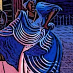 An artist&#039;s depiction of the Orisha Yemay dancing.
