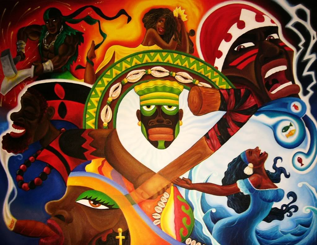 An artist   s rendition of the major Orishas of Santer  237 a Yoruba Orishas
