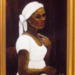 "A woman with her head wrapped after receiving a Rogacion de Cabeza. (Painting is  ""Woman in a White Turban"" by the artist Madge Scott)"