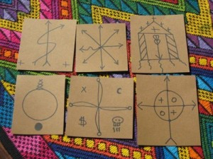 An online vendor sold these Palo Firmas drawn on cardboard as magical charms. The vendor has no initiation in Palo and these firmas are worthless without a nganga and palo initiation.