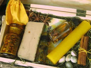 "An ""Orisha Box"" sold by an online vendor claiming it to be a portable altar to the orisha Oshun. Appropriation of orisha colors, numbers and no cultural context is another way vendors make money by stealing cultural symbols."
