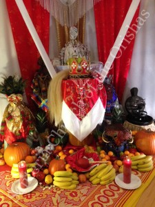 Changó on his birthday throne at the Santería Chuch of the Orishas 2013.